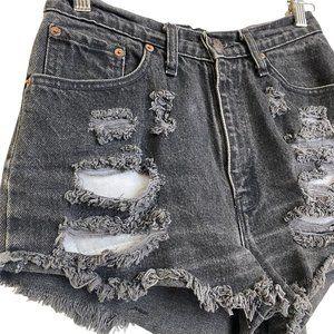 LEVI'S STRAUSS Black Ripped High Rise Jean Short